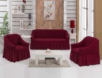 Чехол на диван 3х2 Бордо