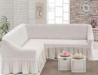 Чехол на угловой диван Белый